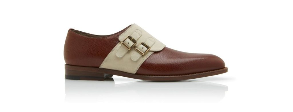 Manolo Blahnik Encore Cognac Brown and Dark Cream Calf Leather Monk Strap Shoes