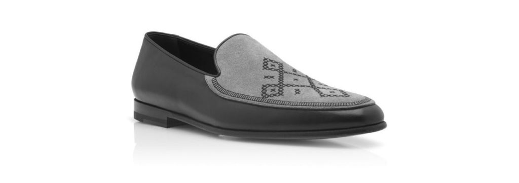 Salaman Manolo Blahnik Black and Grey Calf Leather Loafers