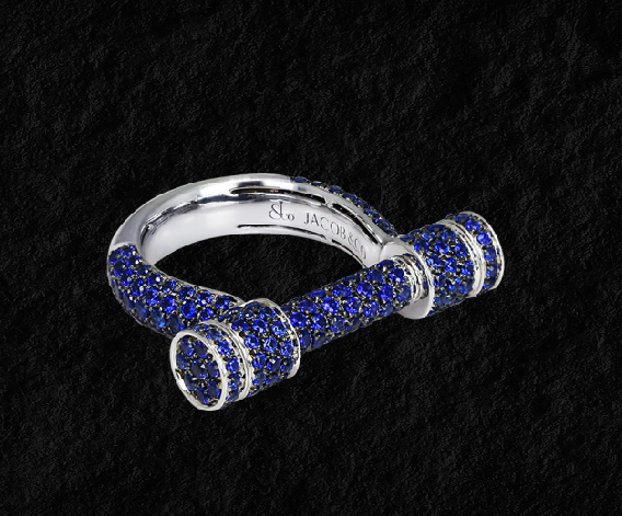 Jacob & Co. Estribo Full Pave Sapphire Ring